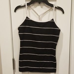 Lululemon Power Y Tank- Black w/White Stripes- sz6